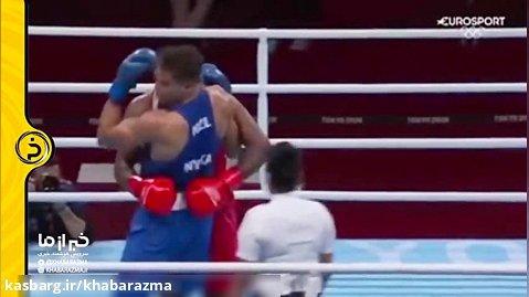 لحظه گاز گرفتن بوکسور مراکشی در المپیک